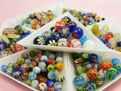 Loose Assorted MILLEFIORI Glass ROUND BEADS ~4mm / 6mm / 8mm / 10mm / 12mm~