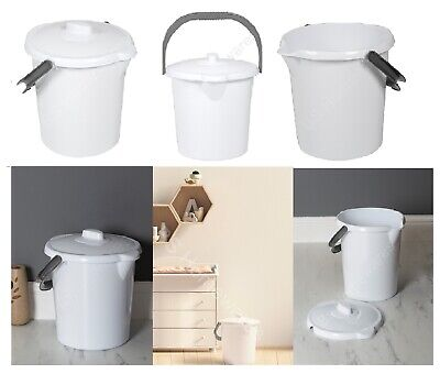 New Plastic 16L Liter Nappy Bucket Bin With Lid & Handle Storage Container Pail