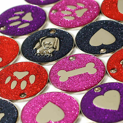 Pet ID Tags, LARGE 32mm Reflective Glitter Dog Tag, 14 COLOURS + ENGRAVED OPTION