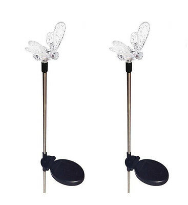 Set of 2 Solar Powered Bumble Bee Yard Garden Stake Color Changing LED Light