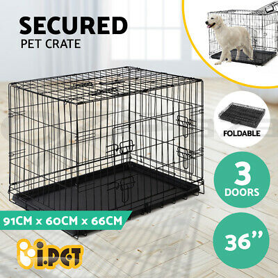 "i.Pet 36"" Dog Cage Pet Crate Puppy Cat Foldable Metal Kennel Portable 3 Doors L"