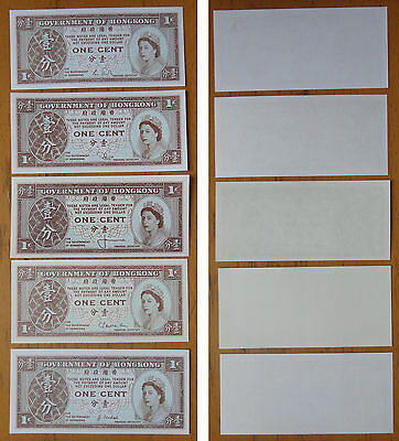 Hong Kong Earlier 1 Cent UNC, Set of 5 Pieces in Different Signature