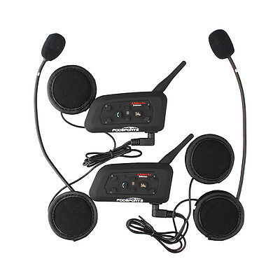 2× BT Interphone Bluetooth Motorbike Helmet Multi Intercom headset 6 Rider 1200M
