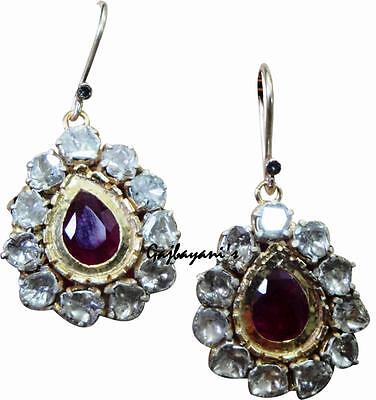 Gorgeous Antique Look Gold/silver Mine Cut Diamond & Ruby Vintage Style Earring