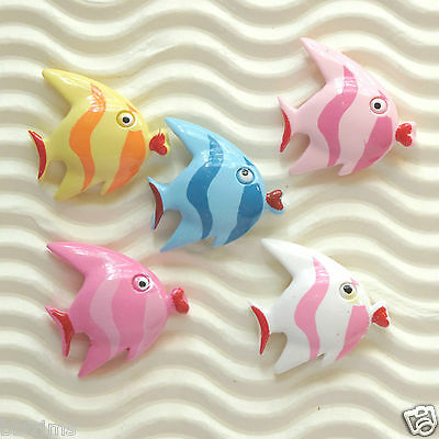"US SELLER - 20 x 6/8"" Resin AngelFish/Coral Flatback Beads for Bow/Card SB430"