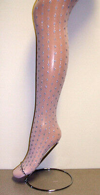Girls 1 Pair Pink Party/Occasion Opaque Tight with All Over Glitter Hearts