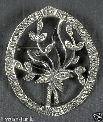 Antique Floral Sterling Silver Marcasite Pin Brooch 925 Sterling Makers Mark M25