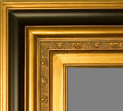 "PICTURE FRAME WOOD BLACK GOLD MUSEUM STYLE 5.75"" WIDE WEDDING ART PHOTO CANVAS"