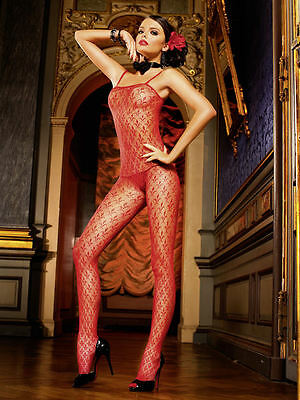 Sexy Red Fleur Lace Bodystocking