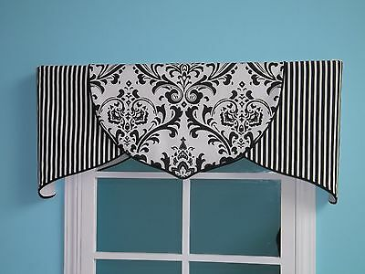 ORDER ONLY Black White Damask Tulip Valance Customize with hot pink/red piping