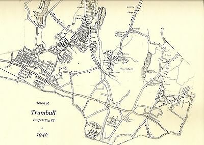 Trumbull CT 1942 Map with Homeowners Names Shown