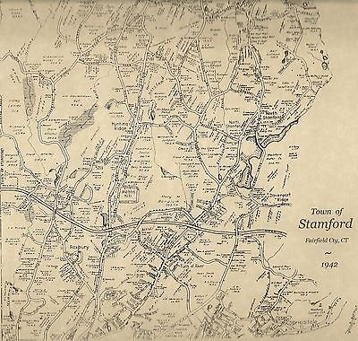 Stamford Glenbrook Belltown CT 1942 Maps with Homeowners Names Shown