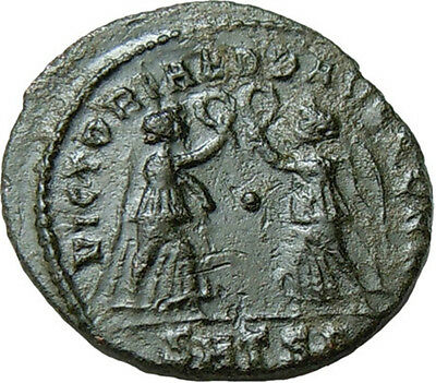 Constans AE Two Victories holding Wreath SMTS Authentic Ancient Roman Coin Rare