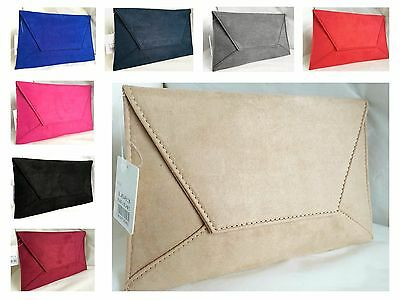 New Royal Blue Black Red Grey Fuschia Nude / Beige Faux Suede Clutch Bag Xmas