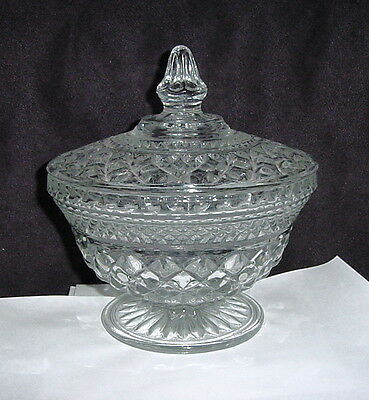 """ANCHOR HOCKING WEXFORD LIDDED CANDY DISH COMPOTE 7-1/2"""" TALL DESIGN EC gg30"""
