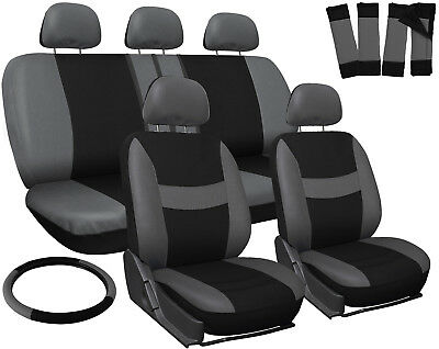 SUV Seat Covers for Toyota Rav4 Gray Black w/ Steering Wheel-Belt Pad-Head Rests