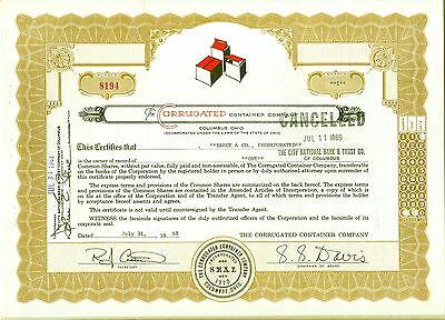 The Corrugated Container Company Stock Certificate Columbus Ohio