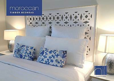 MOROCCAN TIMBER Bedhead / Headboard for Queen Ensemble - WHITE