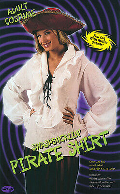 #pirate Buccaneer Shirt Lady White Adult Top Costume Halloween Fancy Dress