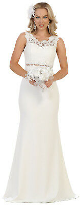 Simple Destination Wedding Formal Evening Gown Long Bridal Church Fitted Dresses