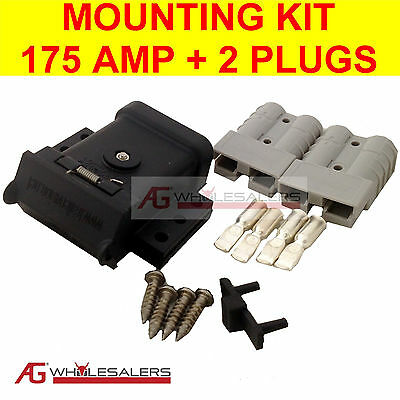 Anderson Plug Mounting Kit 175A & 2 Plugs Mount System Cover Dust Cap External
