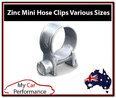 2x Mini Fuel Line Hose Clamps Pipe Clips - Zinc Plated - Air Water Diesel Petrol