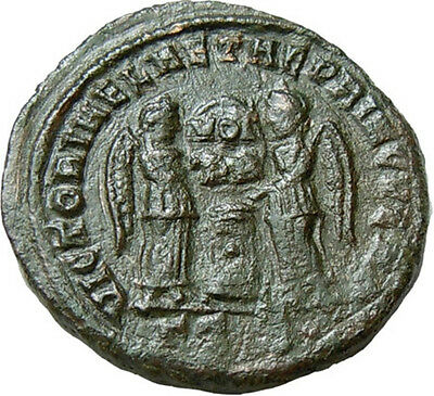 Constantine I the Great AE Two Victories holding Shield Authentic Ancient Roman