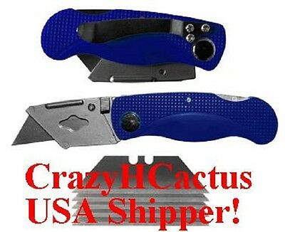 Folding Utility Pocket Knife Knives With 6 Blades & Metal Pocket Clip BLUE Color