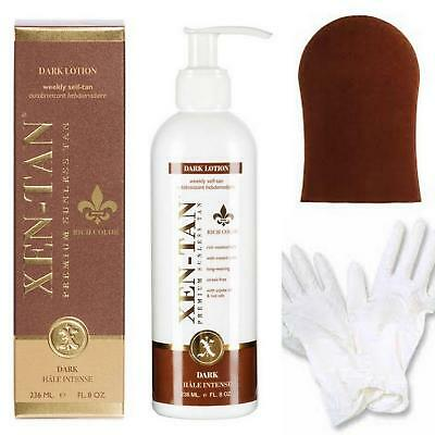 XEN TAN Dark Lotion Weekly Self Fake Tan 236ml FREE Tan Mitt & Gloves