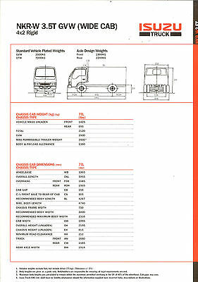 Isuzu Truck Nkr W 3.5 T Wide Cab Brochure Specification Sheet 2003