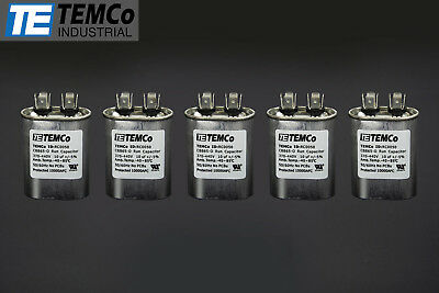 TEMCo 10 MFD uF Run Capacitor 370/440 vac Volts 5 LOT AC Motor HVAC 10 uf