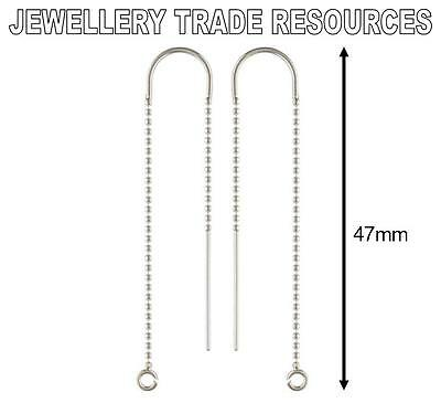 STERLING SILVER EARRING EAR BEAD CHAIN THREADER DROPPER HOOK WIRE & RING 47mm