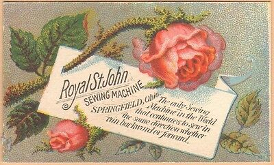Victorian Trade Card-Royal St John Sewing Machine-Springfield, OH-Meriden, CT