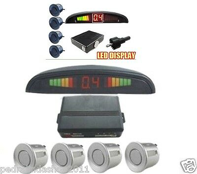 Pdr*kit 4 Sensori Parcheggio Display Led Cicalino Display Led Acustico Grigio
