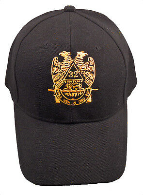32nd Degree Mason Hat Cap Embroidered in the USA 873PC-BLK