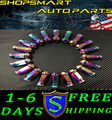12X1.5 Neo Chrome Steel Tuner Lug Nut Set 20 Dodge Neo Srt-4 Lancer Evo X Ix