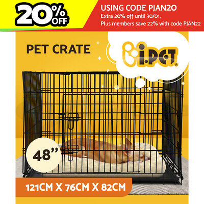 "i.Pet 48"" Dog Cage Pet Crate Puppy Foldable Metal Kennel Portable 3 Doors XXL"