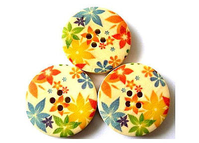 6 Wood buttons flowers in yellow, blue, green, orange 30mm