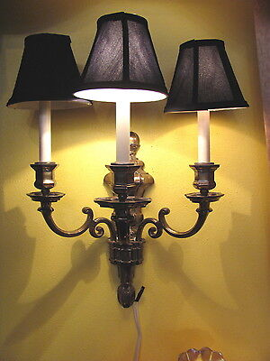 Pair of Antique Silver Plate Wall Sconces Circa 1920