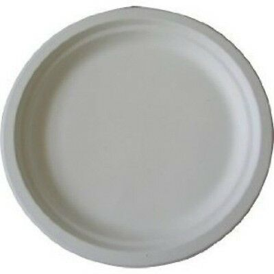 "500 x 9"" White Bagasse Sugarcane Plates - Fully Biodegradable and Compostable"