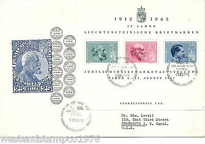 LIECHENSTEIN COVER JUBILEE 1912 - 1962.  COVER TO USA .