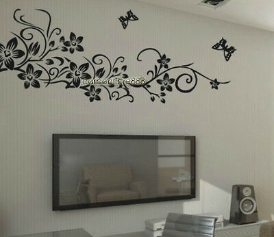 X-Large Butterfly Vines Flower Wall Stickers Art Decal Paper Home Decor Black