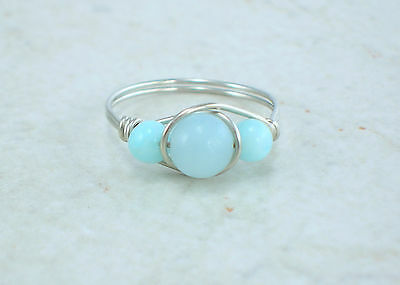 Sterling Silver Amazonite Bead Ring