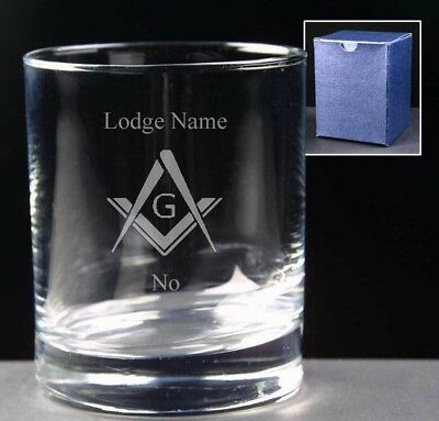 Masonic Whisky Glass Engraved Lodge Name/Number & Square/Compass,in gift box