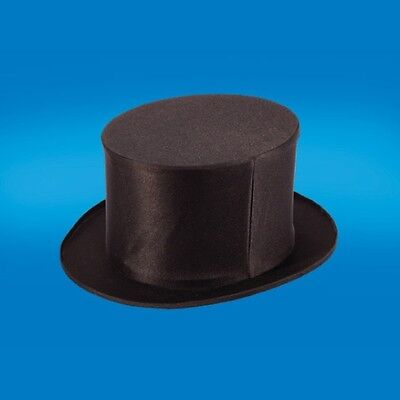 Adult Black Folding Collapsible Top Hat Dancers Magic Magicians Costume Hat M L