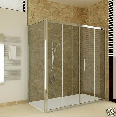 Chrome Sliding Bathroom Walk In Double Shower Door Enclosure Screen Stone Tray