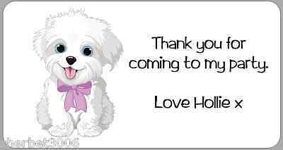 24 x Personalised Stickers White Puppy Dog Labels Thank You Party Address