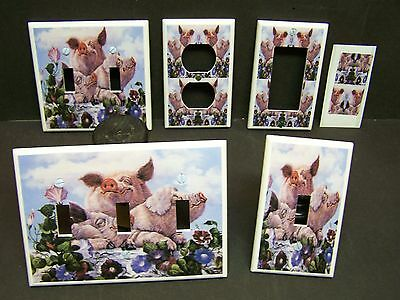 Country Pig Pigs So Cute Farm Hogs  Light Switch Cover Plate Or Outlet Cover