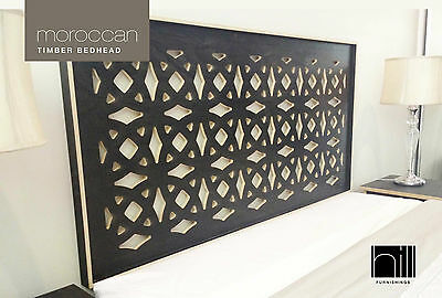 MOROCCAN TIMBER Bedhead / Headboard for King Ensemble Bed - BLACK