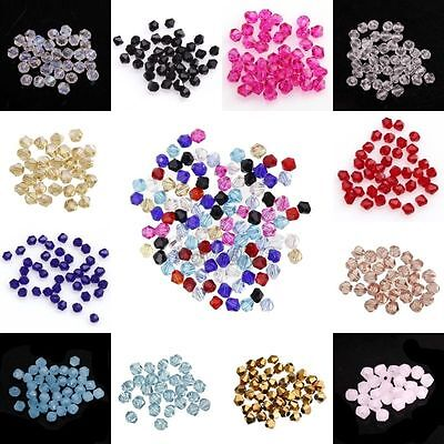 100pcs loose Glass Crystal Bicone 4mm Spacer Beads Findings For Jewelry Making